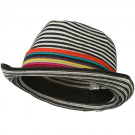 Women's Striped Design Fedora Hat with Multi-Color Band - Black White