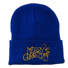 Merry Christmas with Candy Cane Embroidered Long Beanie