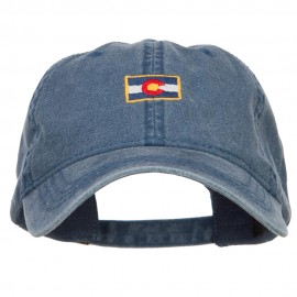Mini Colorado Flag Embroidered Washed Cap - Navy