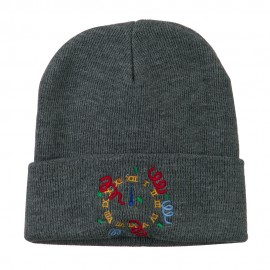 New Years Midnight Clock Embroidered Beanie