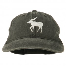 American Moose Embroidered Washed Cap - Black