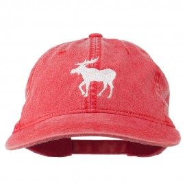 American Moose Embroidered Washed Cap - Red