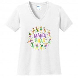 Mardi Gras Festive Dance Graphic Design Ladies Big Size Port & Company Core Cotton V neck T-Shirt