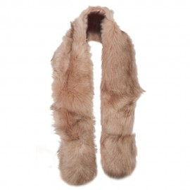 Women's Polyester Faux Fur Mixed Color Scarf