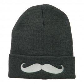 Mustache Embroidered Cuff Long Beanie
