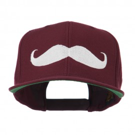 Flat Bill Mustache Embroidered Cap