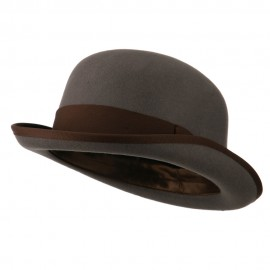Men's Felt Bowler Hat with Ribbon Trim