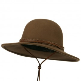Men's Wool Felt Large Brim Fedora - Camel