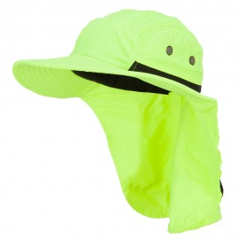 Mesh Sun Protection Flap Hat - Neon Yellow