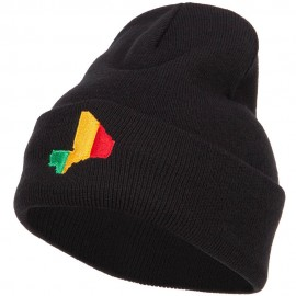 Mali Flag Map Embroidered Long Beanie