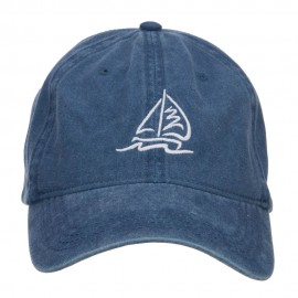 Sailboat and Wave Embroidered Pigment Dyed Cap