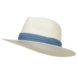 Toyo Fedora Hat with Color Band - Cream Denim