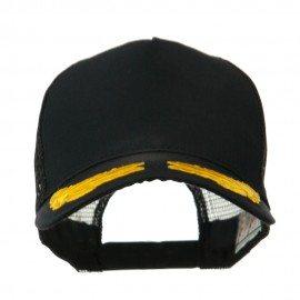 5 Panel Mesh Back Gold Oak Leaves Patch Cap - Black