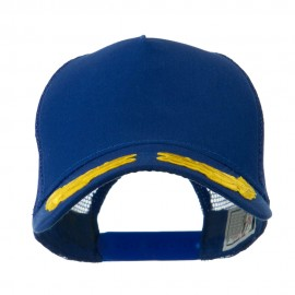 5 Panel Mesh Back Gold Oak Leaves Patch Cap - Royal