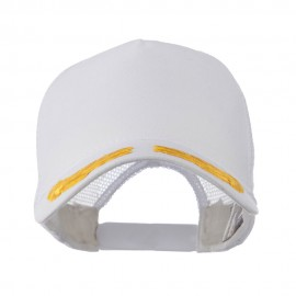 5 Panel Mesh Back Gold Oak Leaves Patch Cap - White