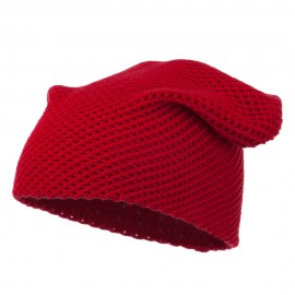 Mesh Knit Crown Deep Beanie