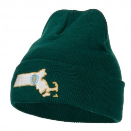 Massachusetts State Flag Map Embroidered Long Beanie