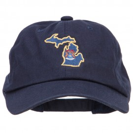 Michigan State Flag Map Embroidered Unstructured Washed Cap