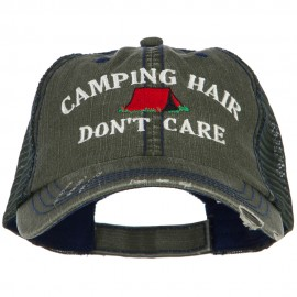 Camping Hair Don't Care with Tent Embroidered Cotton Mesh Cap