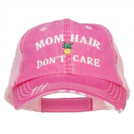 Mom Hair Don't Care Embroidered Cotton Mesh Cap