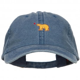 Mini Cali Bear Embroidered Washed Cap - Navy