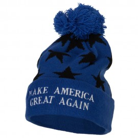 Make America Great Again Embroidered Pom Knit Long Beanie