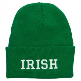 Irish Embroidered Cuff Long Knit Beanie
