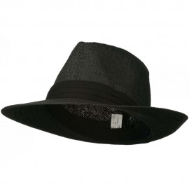 Men's Large Brim Fedora Hat - Black