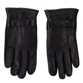 Men's Leather Glove with Knit Sidewalls - Black