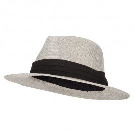 Men's Linen Panama Fedora Hat - Grey