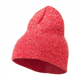 Marled Short Beanie - Red