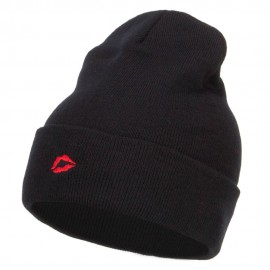 Mini Lips Embroidered Long Beanie