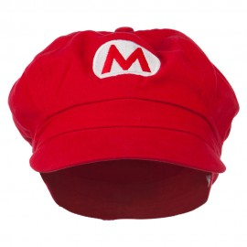 Circle Mario and Luigi Embroidered Cotton Red Newsboy Cap - Red
