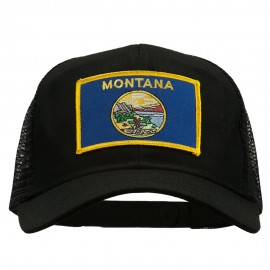 Montana State Flag Patched Mesh Cap - Black