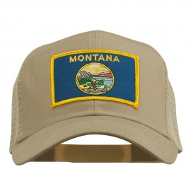 Montana State Flag Patched Mesh Cap - Khaki