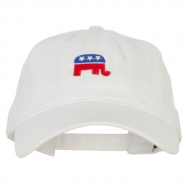 Mini Republican Elephant Embroidered Washed Buckle Cap