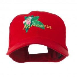 USA State Flower Minnesota Embroidery Cap - Red