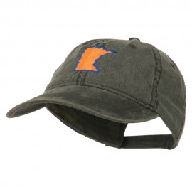 Minnesota State Map Embroidered Washed Cotton Cap - Black