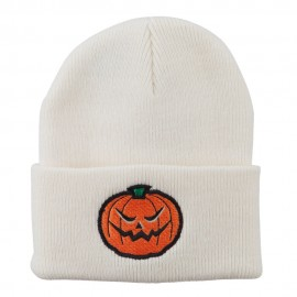 Halloween Mad Jack o Lantern Embroidered Long Beanie
