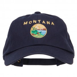 Montana State Flag Map Embroidered Unstructured Washed Cap
