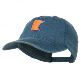 Minnesota State Map Embroidered Washed Cotton Cap - Navy