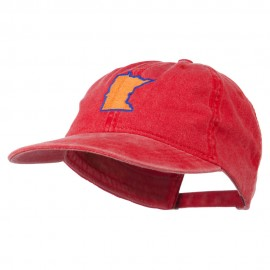 Minnesota State Map Embroidered Washed Cotton Cap - Red