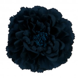 Multi Petal Flower with Pin and Clip - Navy