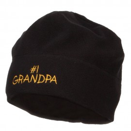 Number 1 Grandpa Embroidered Big Fleece Beanie