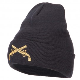 Military Police Insignia Embroidered Long Knitted Beanie