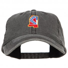 Mississippi State Flag Map Embroidered Washed Cap
