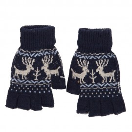 Men's Reindeer Design Fingerless Glove