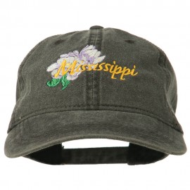 Mississippi State Flower Embroidered Washed Cap - Black