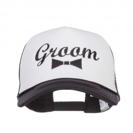 Groom Bow Tie Embroidered Foam Mesh Cap