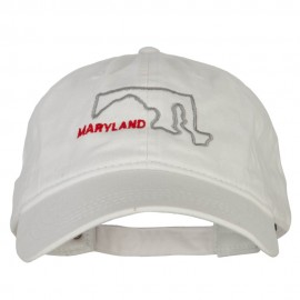 Maryland with Map Outline Embroidered Washed Cotton Twill Cap